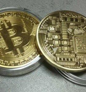 Монета bitcoin сувенирная металлическая