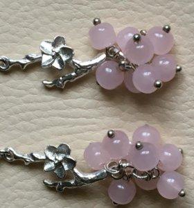 Серьги Ягодки-цветочки розовый кварц