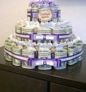 Подарок, торт из денег