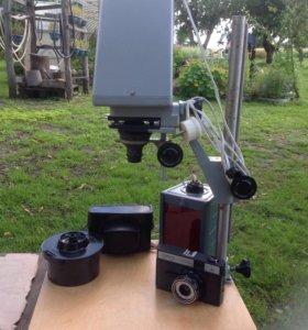 Фотоувеличитель + фотолампа + емкость для пленки