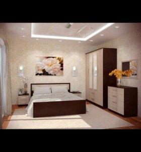 Спальный гарнитур/спальня ФИЕСТА с 4х ств шкафом!