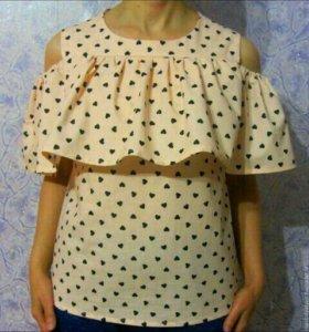 Блуза с воланом, хлопок 100%