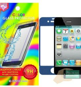 Защитное стекло на iPhone 4 4s с 3D рисунками.