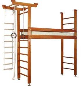 Кровать-чердак с спортивной стенкой