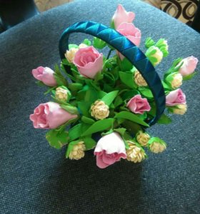 Корзинка с цветами из фоамирана