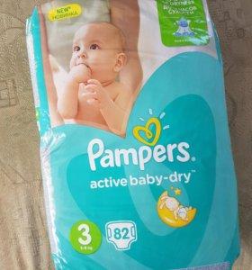 Подгузники Pampers active baby dry, 3-ка