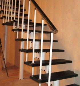 Модульная лестница с облицовкой из дуба