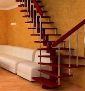 Модульная лестница с облицовкой из березы
