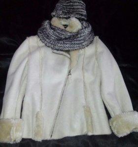 Дубленка -М, шапка+шарф