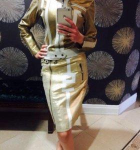 Золотой Кожаный костюм комплект куртка и юбка