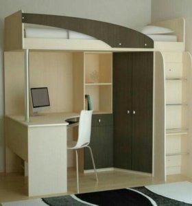 Кровать, шкаф, стол