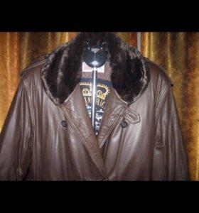 Пальто кожаное, 54-56 размер, коричневое