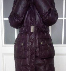 Пальто пуховое с мехом р.44-46