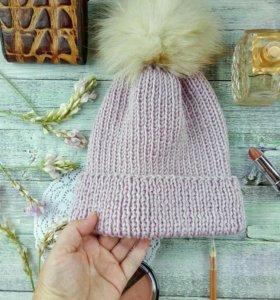 Вязаная шапка, резинка, зимняя, помпон натуральный