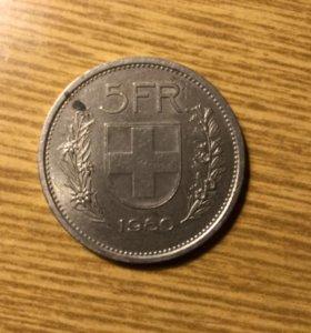 Монета 5 франков 1980 года