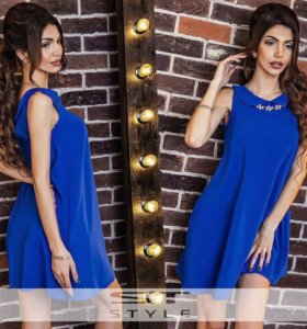 Платье синее с воротничком