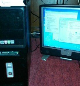Компьютер в сборе 2 ядра 3 гига ЖК монитор
