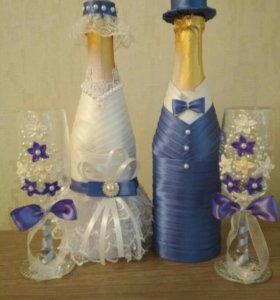 Украшение свадебное (цена за набор с бокалами)