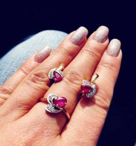 Кольцо и серьги (золото 585пробы, рубины и бриллиа