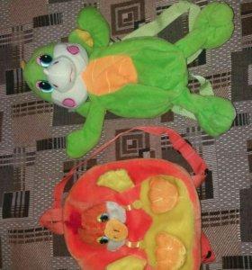 Игрушки-рюкзаки цыплёнок и дракончик