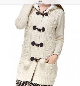 Кардиган-вязаное пальто на меху