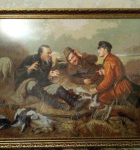 Охотники на привале вышитые крестиком