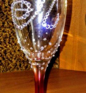 Декор бокалов для шампанского на свадьбу