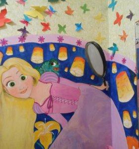 Роспись стен в детской, праздничные плакаты