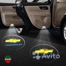 Led-проекторы в двери с логотипом Chevrolet