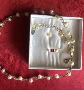 Ожерелье речной жемчуг с сережками гвоздиками