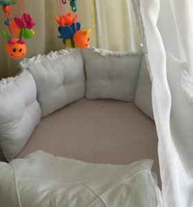 Кроватка трансформер + комплект белья в кроватку