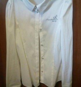 16. Белая блузка для девочки. Размер 134-9.