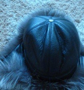 Продам шапку ушанку из чернобурки верх кожа б/у 1
