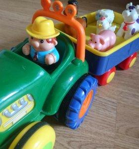 Трактор с прицепом, музыкальный