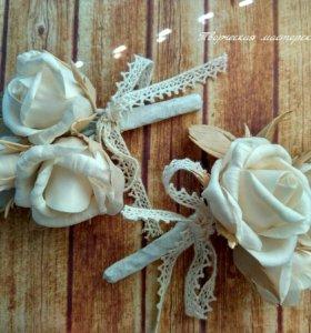Свадебные и праздничные броши и бутоньерки
