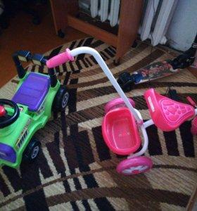 Детский велосипед и машинка.