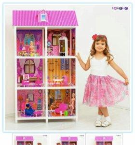 Кукольный домик картоный, три этажа!