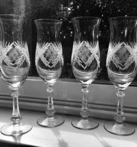 4 шт хрустальные бокалы