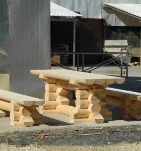 Стол с лавками из оцилиндрованного бревна №6