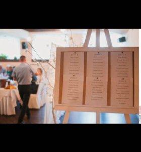 Мольберт для рассадки гостей на свадьбу