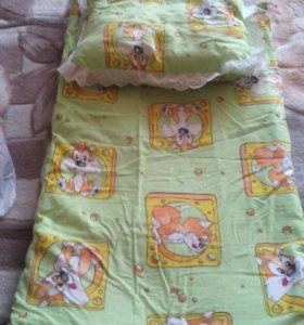 Матрасик и подушка для коляски