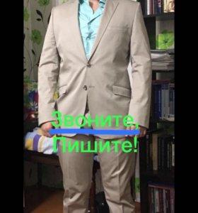 Костюм Мужской пиджак и брюки Бежевый