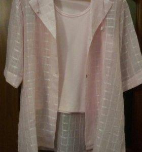 Двойка топ+блуза с капюшоном б/у размер 54