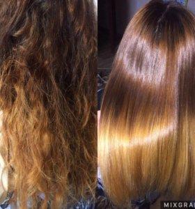 Кератиновое выпрямление,восстановление волос