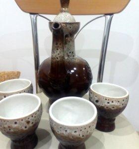 Винтажный набор: кувшин-чайник и стаканы
