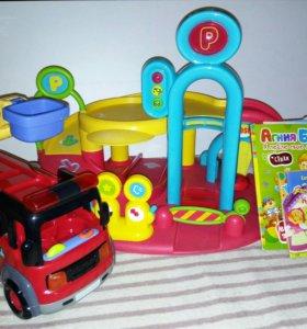 Гараж с машинками+пожарная машина