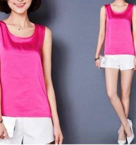 Блузка ярко-розовая