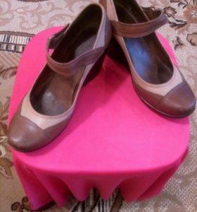 Туфли на платформе кожаные