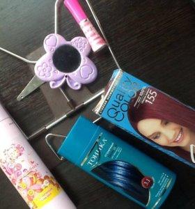 Синий тоник, краска для волос, лосьон и др.