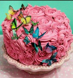 Вафельные украшения-бабочка